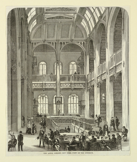 View of the interior of the main reading room of the Astor Library, Lafayette Street, New York. Caption reads: The Astor Library, New York - View of the Interior