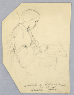 "Vertical rectangle. A woman, probably a Cooper Union student, seen in right profile, seated at a drawing table, working. Inscribed below (in pencil): ""School of Design / Jessie Curtis."" Verso: fragments of figure sketches and ink notations in the hand of Alice Donlevy."