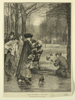 A group of people watch a kneeling boy coax two squirrels with some food. Title below and artist's name. Illulstration from Harper's Weekly.