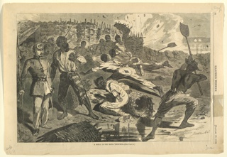 Print, A shell in the rebel trenches, Harper's Weekly, January 1863