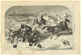 Print, The sleighing season-the upset, Harper's Weekly, January 1860
