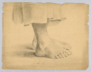 "Horizontal rectangle. Bare feet seen in right profile, with a skirt terminating about six inches above the ankles. Inscribed (in ink), on verso: ""Drawn by M. S. Day/ Jan. 1860."""
