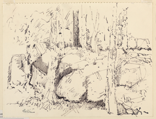 Large rocks with trees growing among them. Page removed from spiral-bound sketchbook.