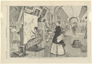 "Graphic Design, ""Art  - Students and Copyists in the Louvre Gallery, Paris"", January 11, 1868"