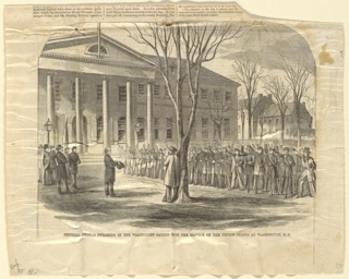 Print, Gen. Thomas swearing in the volunteers, Washington D.C., Harper's Weekly, April 1861