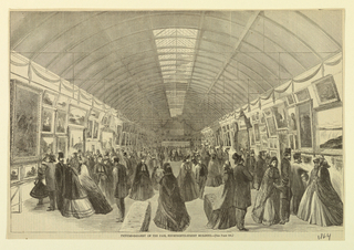 View of the picture gallery at the New York Fair of 1864, showing a large gathering of people. Caption reads: Picture Gallery of the Fair, Fourteenth Street Building