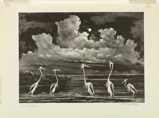Print, Quiet Waters (Cranes at Night)