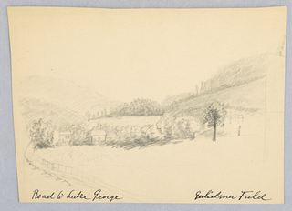 "Horizontal rectangle. Landscape with road at the left leading to houses in a small valley. Inscribed (in pencil), left: ""Road to Lake George."" Title repeated (in ink), and artist's name given in the hand of Alice Donlevy"