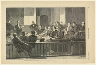 Print, Jurors listening to counsel, Supreme Court, New City Hall, N.Y., Harper's Weekly, February 1869