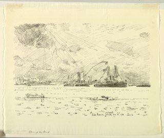 Naval ships are at anchor in the Hudson River. A launch seen in lower foreground.