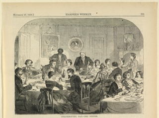 Print, Thanksgiving Day, the dinner, Harper's Weekly, November 1858