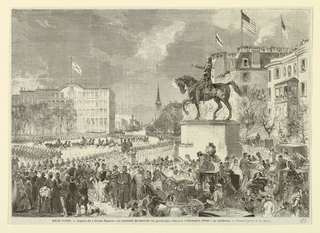 View of Union Square, New York, at the celebration of the visit of Grand Duke Alexis to New York.