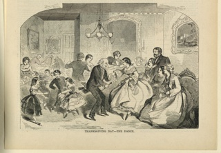 Print, Thanksgiving Day, the dance, Harper's Weekly, November 1868