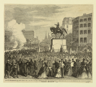View of Union Square, New York, showing crowds gathered in a political rally. Caption reads: Popular Demonstration on Union Square, New York City, July 9th, immediately after the announcement of the nomination of Horatio Seymoure by the Democratic National Convention