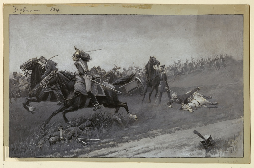 Drawing, Blücher Unhorsed at Ligny