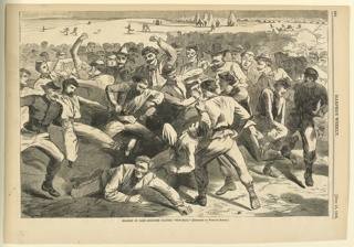 Print, Holiday in camp, soldiers playing foot-ball, Harper's Weekly, July 1865