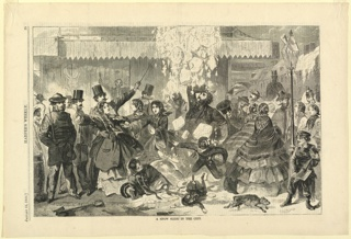 A crowded street in Boston, showing many figures caught in falling snow, possibly sliding off of an awning or building above.
