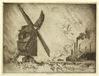 A windmill in the foreground at left, and modern steel mills in the background at right.