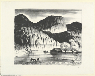 Two horses at the water's edge, in the foreground. Farmhouse in middleground, at right. Mountains in background.