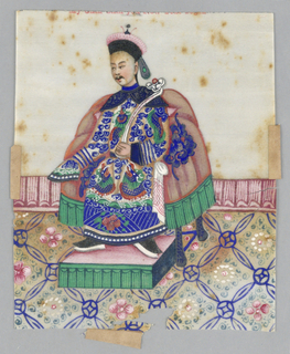 Vertical rectangle.  Male court official is shown seated on dais which rests on over-patterned rug.  He is dressed in heavily embroidered garment with cape over shoulders.
