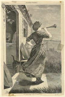 Vertical view at left of the corner of a house with an open door showing portion of interior where a table is laid for a meal, at center of a woman with her back turned blowing trumpet, and in the distance beyond a well with sweep and a field with workers.