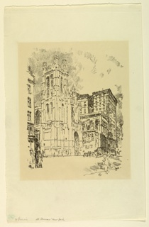 View looking North on Fifth Avenue at 53rd Street, New York City. St. Thomas' Church appears lower center.