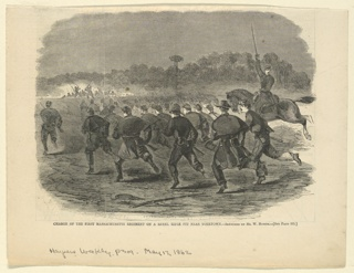 Print, Charge of the First Massachusetts Regiment, Harper's Weekly, May 1862