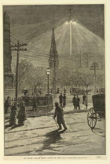 Madison Square, New York, in the evening. Snow is on the ground.  The square is illuminated by a cluster of electric lights. Caption reads: The Electric Light in Madison Square, New York. Illustration from Harper's Weekly.