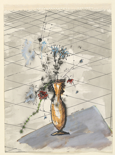 Vertical rectangle of an orange vase with flowers on thin stalks that rests on a grey platform against a ground laid out in squares in perspective.