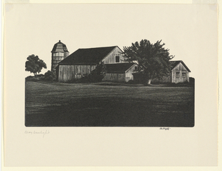 A weathered New England barn and outbuildings are seen in the late afternoon light, with deep shadows. A silo is silhouetted in the left distance.