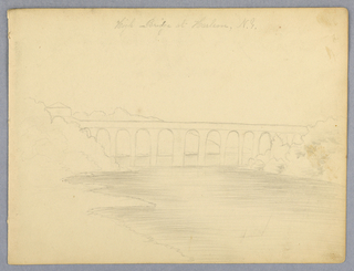 "Horizontal rectangle. The view is taken looking North, with Manhattan Island at the left and Lon Island at the right. Inscribed at top (in pencil): ""High Bridge at Harlem, N.Y."""