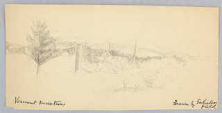 "Horizontal rectangle. View of a village (possibly Rutland or Battleboro), with the Green Mountains beyond. Inscribed below (in ink), in the hand of Alice Donlevy: ""Vermont Mountains. Drawn by Guelielma Field."" Dated on verso by her [:]."