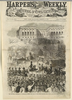 Vertical view showing an open carriage moving toward the left with Lincoln and Buchanan seated in it.  Crowds are visible in the foreground as well as mounted soldiers, and men are seated on the gateposts in the background, with a portion of the Capitol building visible in the extreme background.