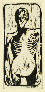 Three-quarter length figure of a nude man, standing, facing the spectator. Gaunt face and ribs. Enclosed in frame with rounded corners.