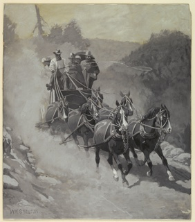 Driver and six passengers in coach drawn by six horses.