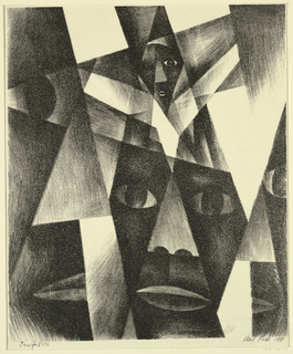 An abstract composition, with a figure on the cross partially shown, upper center. A large head facing frontally, and facial details, left and right.