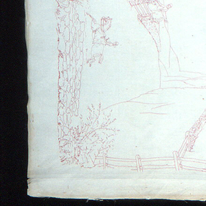 White linen table cover embroidered in red mercerized cotton with hunting scenes arranged as a border.