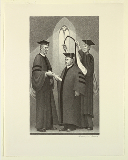 Three men are standing in academic gowns in front of a gothic window. The central figure receives a scroll from the figure at left, while the figure at right places a hood over his shoulders.