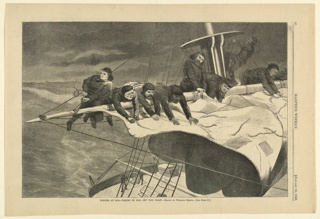 Print, Winter at sea--talking in sail off the coast, Harper's Weekly, January 1869