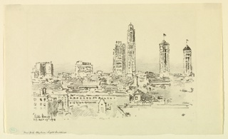 "New York City skyline seen in bright daylight. Similar composition to ""New York Skyline – Dark Buildings"" (1940-76-21)."