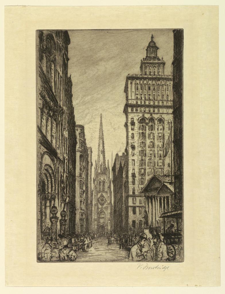 Print, Trinity Church from Wall Street