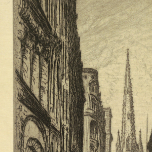 Vertical rectangle.  Wall Street runs through the center of the composition, with tall buildings to the left and right.  Trinity Church (1846) looms up in the background, flanked on the right by the slender 22-story Gillender Building (built in 1896, demolished in 1910) and Federal Hall National Memorial (1833-1842).