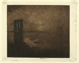 The Brooklyn Bridge is shown with street lights lit. Heavy clouds overhead. Bright reflections in the East River.
