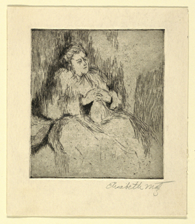 A woman is shown seated, facing one quarter toward the right, her hands clasped before her.