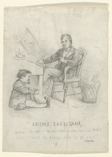 The editor is seated at his desk, facing left with editions of Harper's Weekly hanging on racks behind him. Seated on the floor, facing right in profile, is the artist himself depicted as a young child. The artist is sharpening his pencil, with a drawing block spread across his knees.