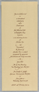 Calligraphy, Invitation, 1974