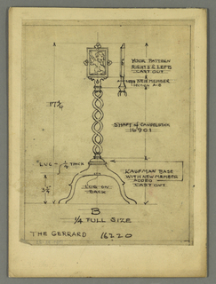 Drawing, Andiron: Gerrard, 20th century