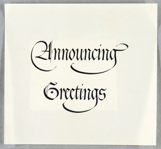 Calligraphy, Headings for Bicentennial Announcement, 1948