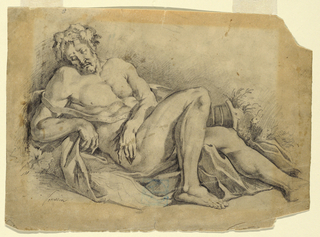 The nude Bacchus is seen turned half-right, lying on drapery, half supported on block behind shoulders. Right, cornicopia.