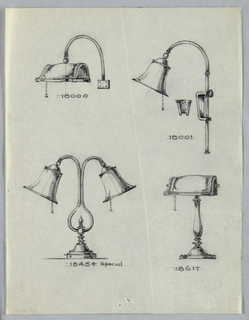 Drawing, Four Designs: Desk Lamps, 20th century